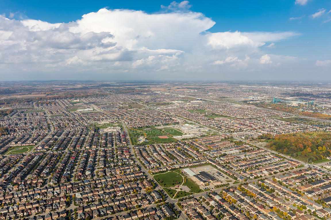 Aerial drone moving shot of Vaughan