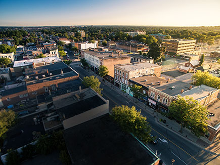 Whitby downtown aerial shot